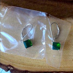 Sterling silver drop Emerald stone earrings